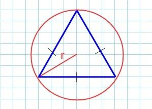 Через радиус описанной окружности